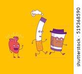 smiling heart fights cigarette... | Shutterstock .eps vector #519368590