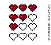 pixel art heart for game.... | Shutterstock .eps vector #519369190
