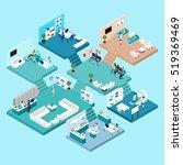 hospital icons isometric scheme ... | Shutterstock . vector #519369469
