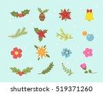winter flowers set | Shutterstock .eps vector #519371260