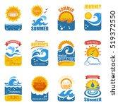 summer label set with waves...   Shutterstock . vector #519372550