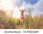 dreaming woman taking a deep... | Shutterstock . vector #519382684