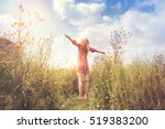 woman living in harmony and... | Shutterstock . vector #519383200