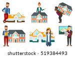 young real estate agent holding ... | Shutterstock .eps vector #519384493