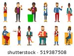 young waiter holding bottle of... | Shutterstock .eps vector #519387508