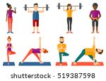 sporty man lifting a heavy... | Shutterstock .eps vector #519387598