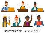 student preparing for exam with ... | Shutterstock .eps vector #519387718