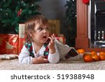 little girl on the carpet in... | Shutterstock . vector #519388948