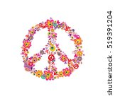 hippie print with peace flower... | Shutterstock .eps vector #519391204
