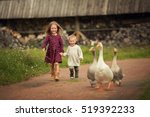 little bother and sister... | Shutterstock . vector #519392233
