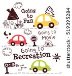 cute cars doodle cartoon | Shutterstock .eps vector #519395284
