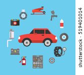 car repair service concept with ... | Shutterstock .eps vector #519401014