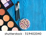 decorative cosmetics on wooden... | Shutterstock . vector #519402040