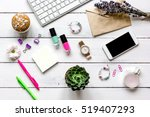 female wooden desktop with... | Shutterstock . vector #519407293