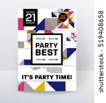 invitation disco party poster... | Shutterstock .eps vector #519408658