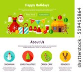 happy holidays web design. flat ... | Shutterstock .eps vector #519415864
