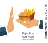rejecting the offered junk food.... | Shutterstock .eps vector #519417778
