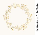 golden wreath with butterfly.... | Shutterstock .eps vector #519422644