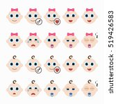 set of cute baby emoticons.... | Shutterstock .eps vector #519426583