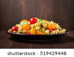 fusilli pasta salad plate with... | Shutterstock . vector #519429448