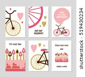 set of 6 cute creative cards... | Shutterstock .eps vector #519430234