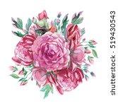 watercolor romantic bouquet of... | Shutterstock . vector #519430543