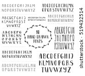 set of 10 hand drawn fonts.... | Shutterstock .eps vector #519432514
