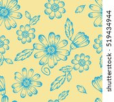 seamless hand drawn floral... | Shutterstock .eps vector #519434944
