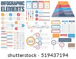 Infographic Elements - process infographics, workflow diagrams, timeline infographics, steps and options, pyramid chart, table, text box, flowchart design elements, vector eps10 illustration | Shutterstock vector #519437194
