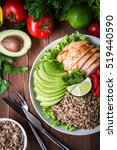 healthy salad bowl with quinoa  ... | Shutterstock . vector #519440590