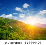 mountain landscape with the sun | Shutterstock . vector #519444409