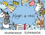 magic unicorn card. vintage... | Shutterstock .eps vector #519446434