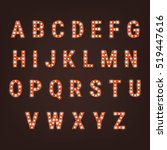 retro font with light bulbs.... | Shutterstock .eps vector #519447616