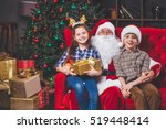 christmas  children and gifts.... | Shutterstock . vector #519448414