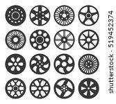 Wheel Disks Or Rims Icon Set....