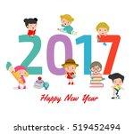 happy new year 2017 kids...   Shutterstock .eps vector #519452494