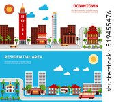 city districts banners with... | Shutterstock . vector #519455476