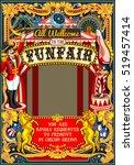 funfair circus tent artist show ... | Shutterstock .eps vector #519457414