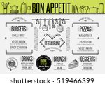 placemat menu restaurant food... | Shutterstock .eps vector #519466399