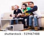 low view of happy friends... | Shutterstock . vector #519467488