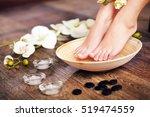woman washing beautiful legs in ... | Shutterstock . vector #519474559