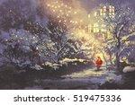 Santa Claus In Snowy Winter...