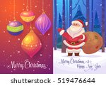 happy cute santa with gifts in... | Shutterstock .eps vector #519476644