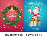 happy cute santa with gifts....   Shutterstock .eps vector #519476674