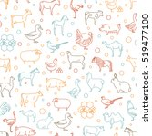 farm animal thin line... | Shutterstock .eps vector #519477100
