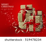 christmas gifts isolated on red ... | Shutterstock . vector #519478234