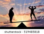 fat man and sporty man in... | Shutterstock . vector #519485818