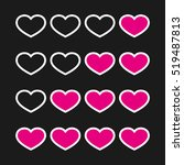 rating with flat hearts  icons...   Shutterstock .eps vector #519487813