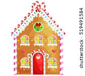 gingerbread house decorated... | Shutterstock .eps vector #519491584