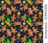 seamless pattern christmas... | Shutterstock .eps vector #519491590